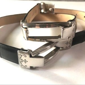 Brighton Black Leather Belt Silver Buckle Sz M/L